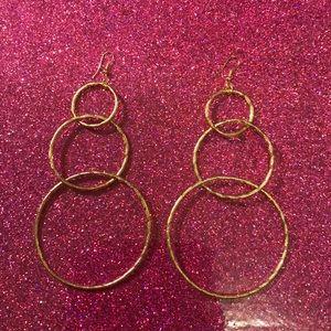 Jewelry - Gold toned hook dangle ring hoop earrings